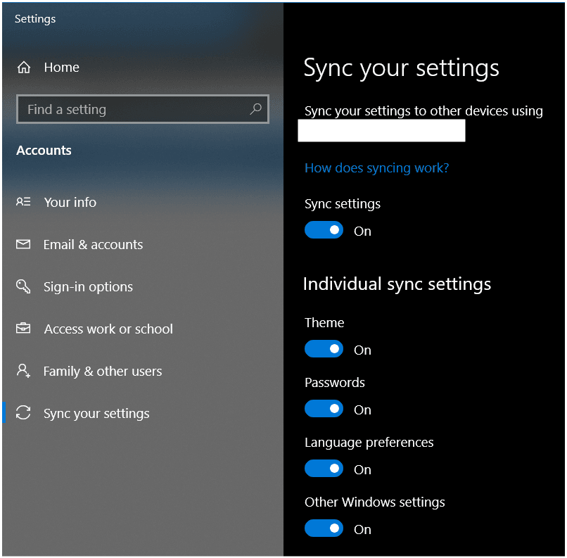 Settings>Accounts>Sync your settings page in Windows 10
