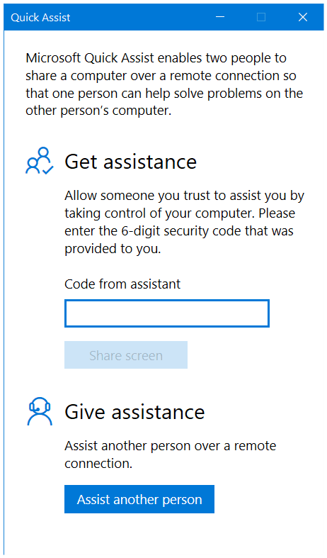 Quick Assist on Windows 10