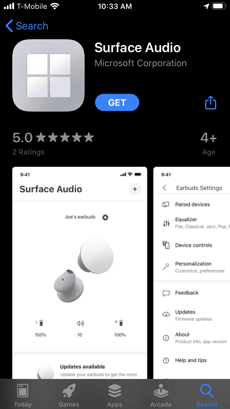 Surface Audio App on iOS