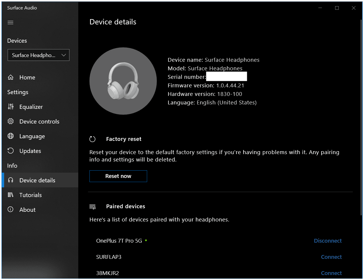 Surface Audio App on Windows 10