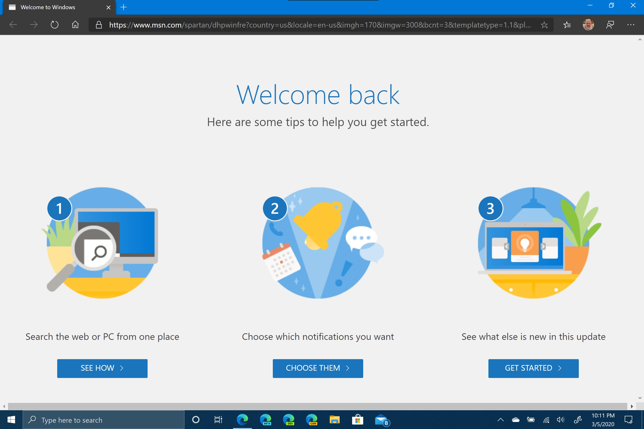 Microsoft Edge Welcome Back Update Screen
