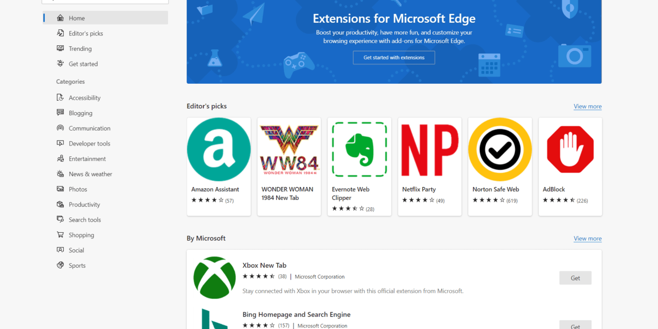 Hands On: Microsoft Edge Add-ons Site
