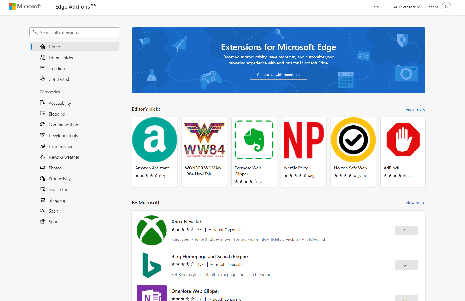 Microsoft Edge Add-ons Hero