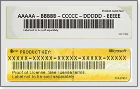 WIndows Product Key Sticker Sample Image
