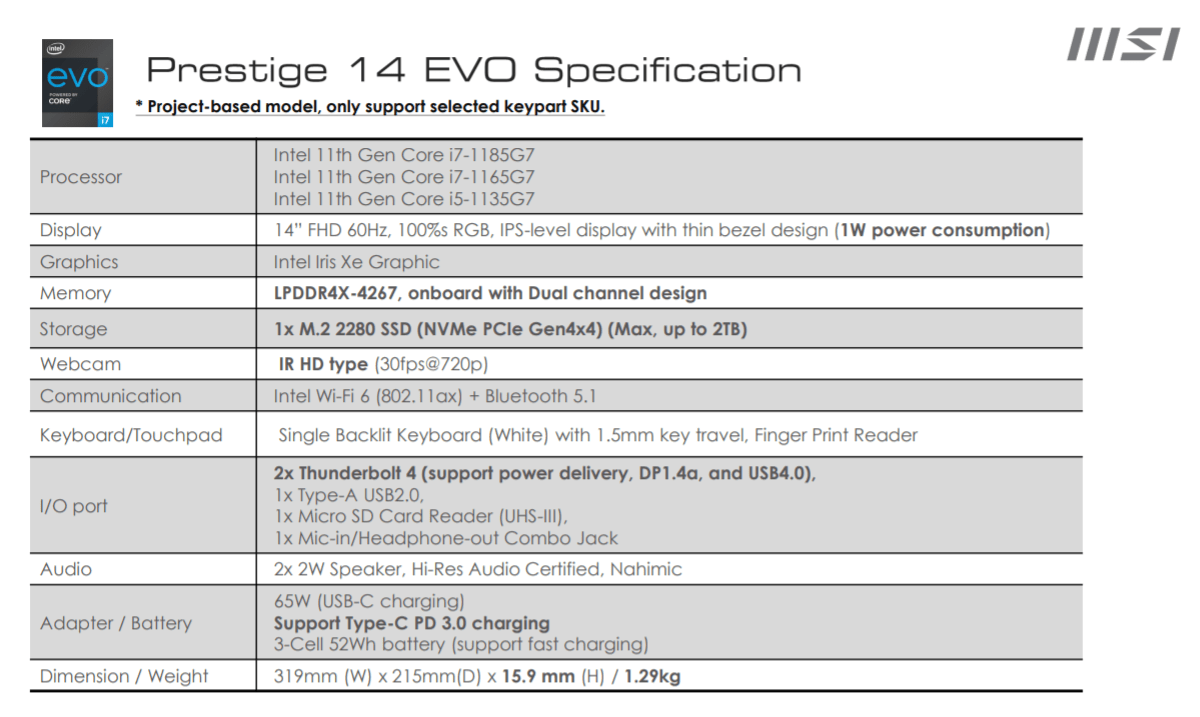 Prestige 14 EVO Specifications