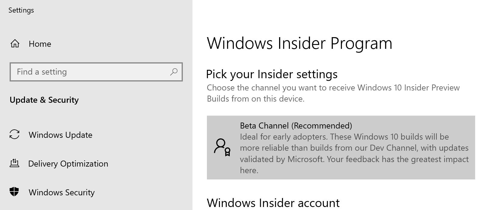 Windows Insider Beta Channel