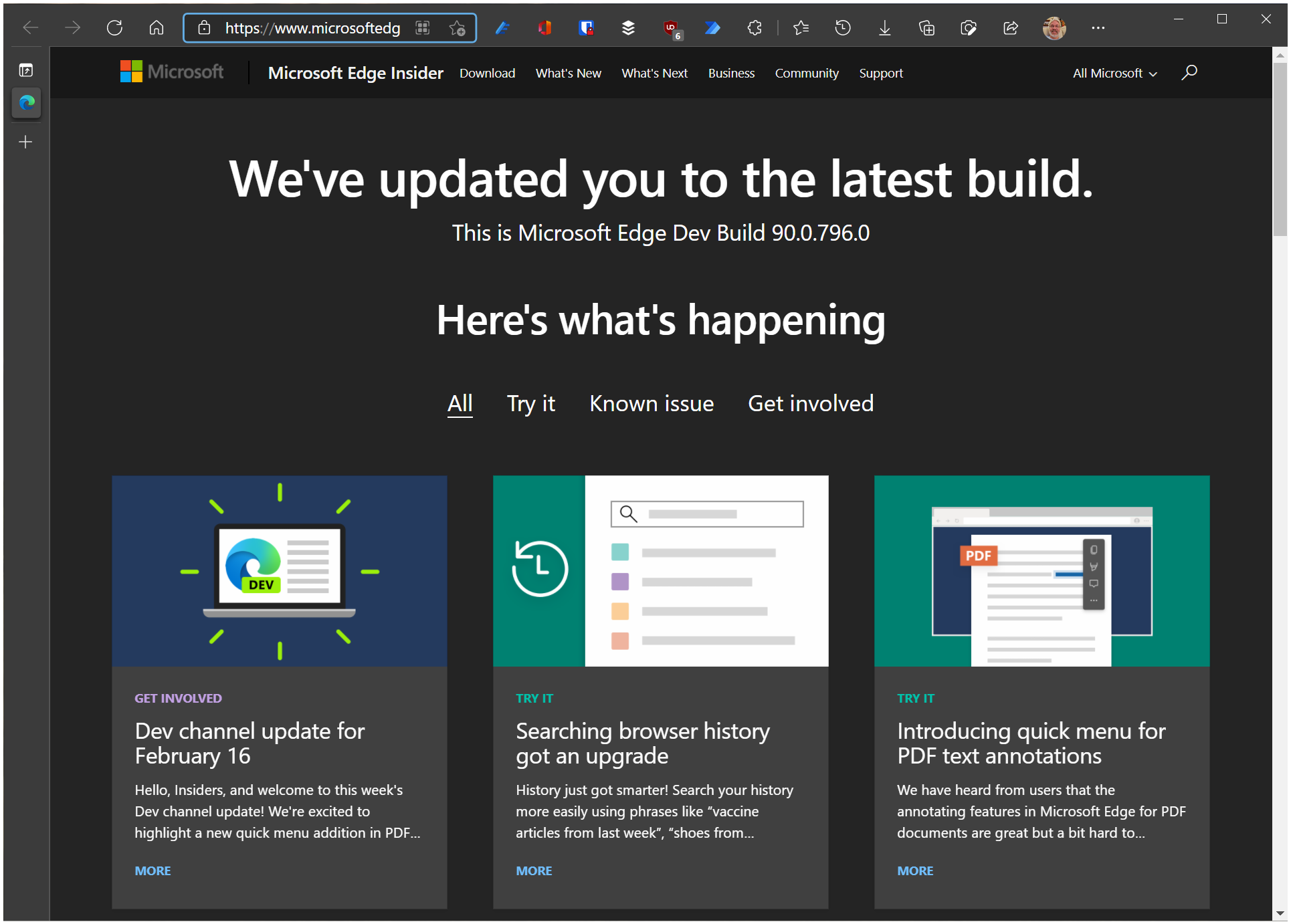 Microsoft Edge Developer and Beta Channel Update Summary