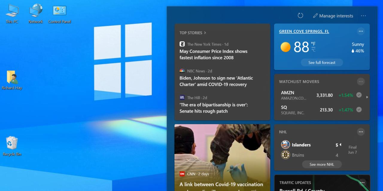 Turn Off News & Interests Feature on the Windows 10 Taskbar
