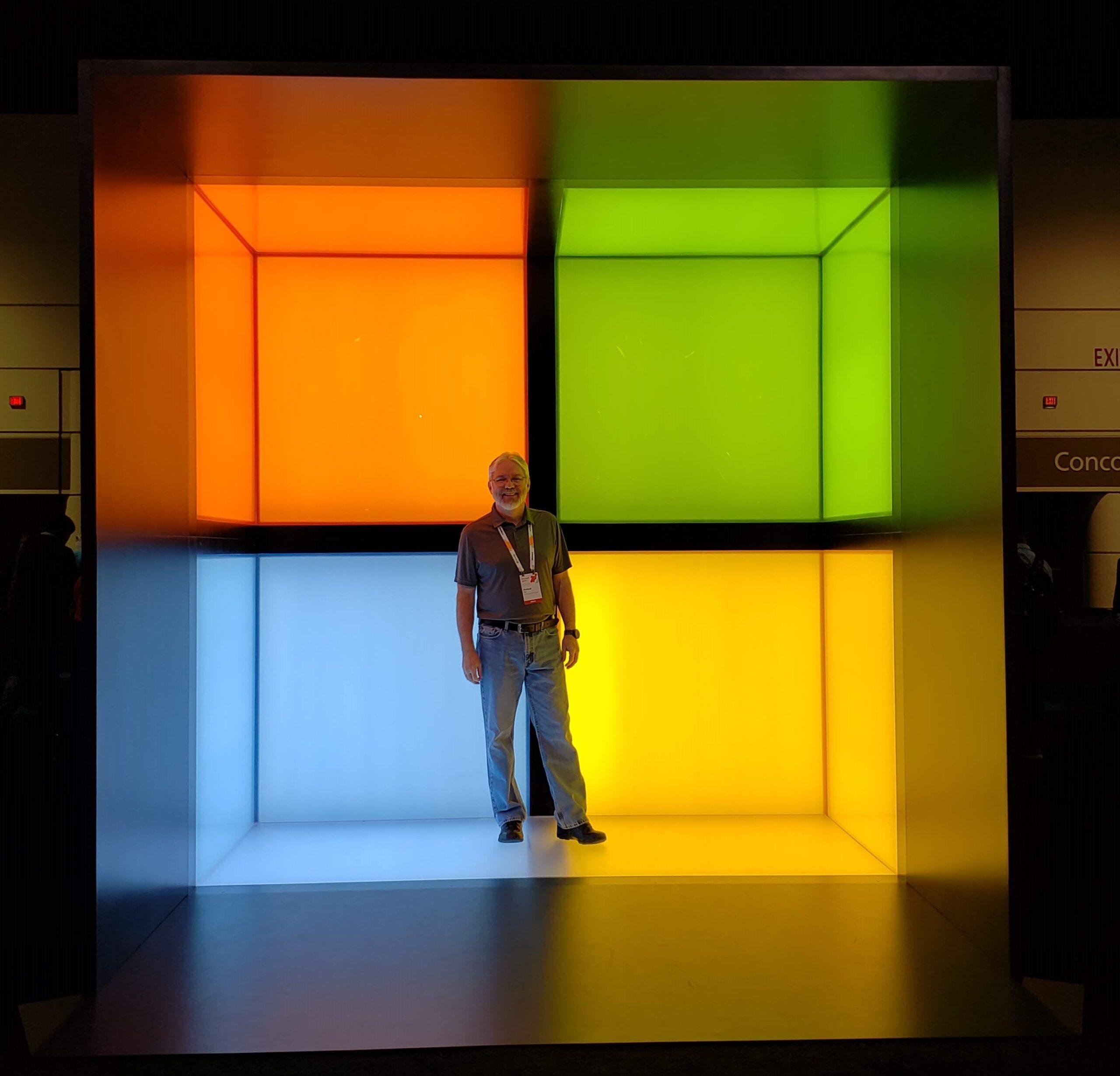 Richard Hay in a Microsoft Logo Photo Booth